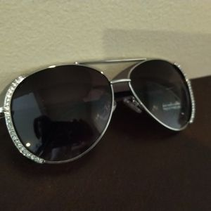 NY&C Ladies Rhinestone Silver Aviator Sunglasses